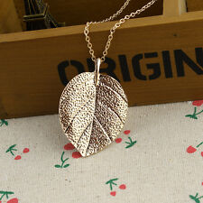 Fashion Womens Charm Golden Leaf Pendant Necklace Long Sweater Chain Jewelry YS