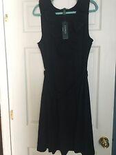 Ralph Lauren Black Cotton Blend Sleeveless Dress Eyelet Ruffle Neckline XL - NWT