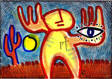 'vision quest' e9Art ACEO Shaman Visionary Eye Pagan Outsider Art Brut Original