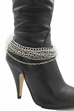 Women Boot Chain Bracelet Western Shoe Charm Fashion Jewelry Silver Multi Strand