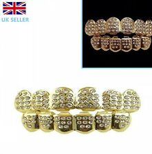 Chapado en Oro Grillz 24k Diamante Dientes Boca Parrillas Top Parte inferior Bling Hip Hop Rap