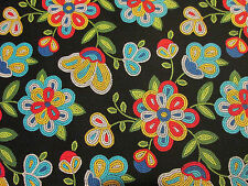Navajo Native American Beaded Like Floral Colors Black Print Cotton Fabric BTHY