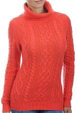 Balldiri 100% Cashmere Damen Pullover Rollkragen Zopfmuster 10 fädig orange XL