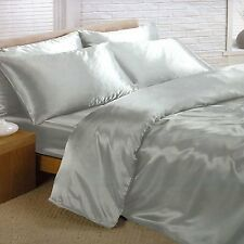 KING SIZE SATIN 6 PC DUVET COVER FITTED SHEET FOUR PILLOWCASES METALLIC SILVER