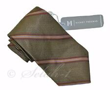 New tags HICKEY FREEMAN silk Neck TIE - Stripe olive green brown $115 made USA
