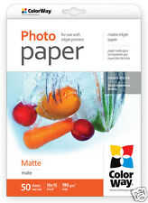 ColorWay Matte A6 6x4 190gms Photo Paper 50 Sheets Free UK Postage