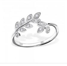 sterling silver 925 branch design ring with cubic zirconia clear