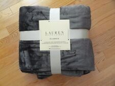 Ralph Lauren Micromink Blanket Full Queen Dark Gray RL Logo Super Soft NEW NWT