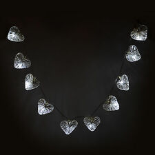 Set Of 10 Silver Wire Heart Lights String With White LEDs Battery Indoor Home