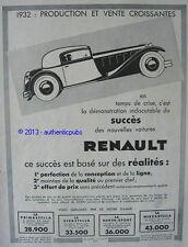 PUBLICITE VOITURE RENAULT PRODUCTION ET VENTE CROISSANTES LES STELLAS DE 1932 AD