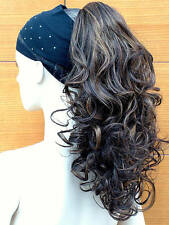 Clip In Ponytail Hair Piece Curly Hair Extension Brown with Blonde Highlights