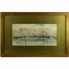 Antique Maritime Landscape Watercolour Painting Tall Ships Steam Tugs 1850