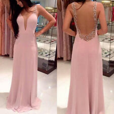 Sexy Womens Strap V-Neck Backless Bandage Cocktail Evening Party Long Dress M