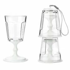 Kikkerland Set of 2 Stacking / Portable Travel Wine Glasses - White