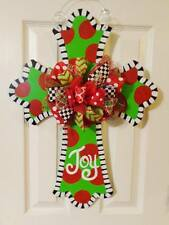 "Handpainted  Wood Door Hanger Large Cross Christmas ""JOY"" or Initial"