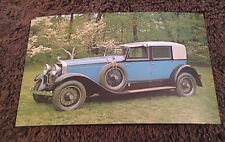Vintage Postcard Unposted Auto 1926 Hispano Suiza Opera Coupe Turquoise Blue