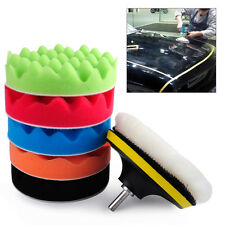 "7pcs 6"" 150mm Car Polishing Waxing Wool Sponge Pads Kit Vehicle Polisher Buffer"