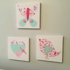 SET OF 3 HANDMADE VINTAGE BIRD BUTTERFLY HEART CANVASES pink nursery baby girl