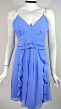NWT NANETTE LEPORE Periwinkle Blue Chiffon Ruffled Merengue Dress 12 Retail $298