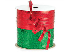 """*24YDS* 3/16"""" Sparkly Red & Green HOLOGRAPHIC Curling Ribbon Poly Embossed"""