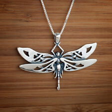 Large Handcast 925 Sterling Silver Celtic Dragonfly Pendant FREE Cable Chain