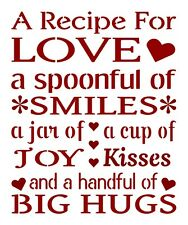 Primitive Stencil For Signs, Word, Quote, A Recipe For Love, Kitchen (#619)