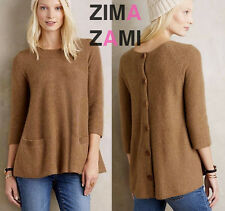 Nip Anthropologie Cashmere Swing Pullover w Pockets Sz XS P PXS Moss Brown Moth