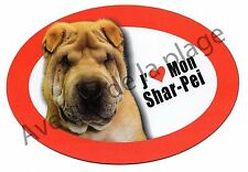 """Magnet chien """"J'aime mon Shar Pei"""" frigo/voiture idée cadeau NEUF"""