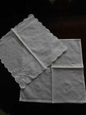Two Square White Embroidered Vintage Doilies
