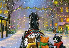 Kittens cats horse sleigh Christmas lights town limited edition aceo print art