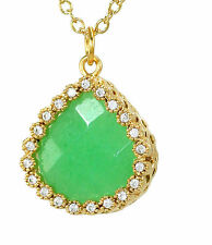 """Green Chrysopras Natural Stone Necklace Gold Plated Swarovski Crystals 16"""" Chain"""