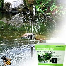 Solar Fountain Pump 250ltr Battery Backup LED Lights Pond Water Feature NEW