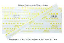 6 BRINS DE 30 cm de Plastigage JAUNE - pour les jeux de 0.230 à 0.510mm