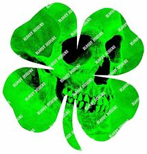 Four Leaf Clover / Shamrock Skull Decal Sticker 3""
