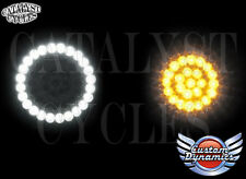 Custom Dynamics LED Dynamic Ringz Harley Turn Signals White & Amber w/ 1157 bulb