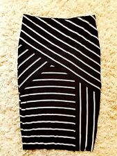 Vince Camuto Womens Striped Lined Midi Stretch Pencil Skirt Size S Bodycon