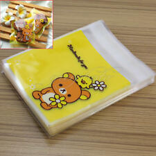 100Pcs Self Adhesive Seal Plastic Gift Bags Bear Pattern for Candies Cookies