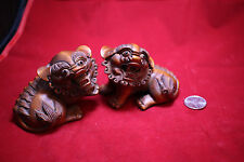Antique Chinese Carved Bamboo Lions Pair - Circa Late Qing Dynasty