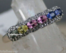 Solid 14K White Gold Genuine Natural Fancy Color Sapphires 2.3g Band Ring Size 5