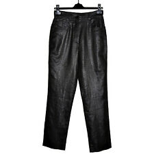 SONIA RYKIEL Pantalon Lin Enduit 40FR Coated Pants Taille Haute Made In France