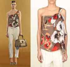 $995 GUCCI TOP BLOUSE OSHIBANA PRINT SILK GEORGETTE ONE SHOULDER BOW DETAIL 40 4