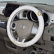 JDM Hello Kitty steering wheel cover white gold embroidery Sanrio car accessory