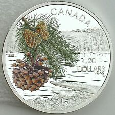 Canada 2015 $20 Forests of Canada: Coast Shore Pine, Pure Silver Color Proof