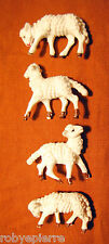 4 pecore sheeps del presepe crib vintage made in italy pecorelle a colori colors