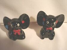 Vintage...Red Ware....Black Large Eared Mice....Salt & Pepper Shakers -  (Japan)