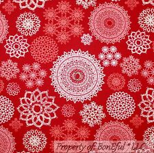 BonEful Fabric FQ Cotton Quilt Red White Pink Maroon Snowflake Xmas Calico Lace