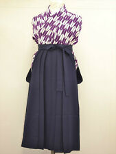 VINTAGE JINKEN WOMENS HAKAMA For Graduation/Coming of Age:Navy Blue@L74a