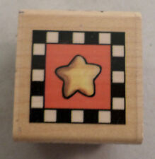 Brother Sister Design Studio Whimsical Star Box Square  Wooden Rubber Stamp