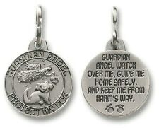 "NEW DOUBLE SIDED GUARDIAN ANGEL PET DOG MEDAL TAG CHARM 1"" ROUND SILVER METAL"