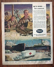 POWs in Nazi Prison Camp Receive Red Cross Packages in White Trucking WWII Ad